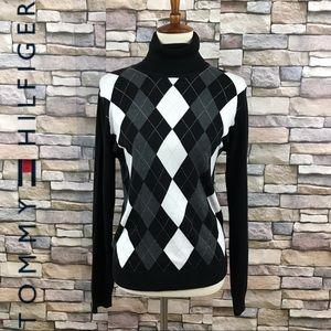 Tommy Hilfiger High Neck Argyle Sweater Size L